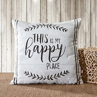 TINA'S HOME 100% Cotton Farmhouse Quote Throw Pillow Covers 18x18 inches - This is My Happy Place