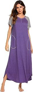 ثوب نوم طويل من إكوير، ملابس نوم نسائية بأكمام قصيرة ملابس نوم كامل الطول مع جيوب