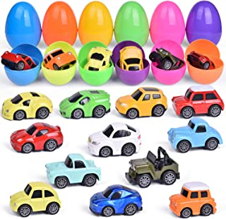 12 Pcs Pull Back Cars Toys PreFilled with Easter Eggs for Easter Basket Stuffers, Mni Cars for Kids Easter Gifts, Easter Egg Fillers, Toddler Easter Basket Stuffers