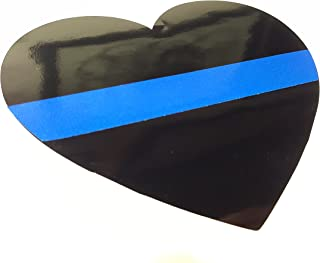 """Oracal/3M 3""""x4"""" Heart Thin Blue Line Vinyl Decal Police Blue Lives Matter Stickers by A1A Sales"""