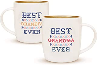 Gifffted Grandma and Grandpa Mugs, Christmas Gifts For Grandparents, Coffee Mugs For Best Grandparents, Grandma and Grandpa Gifts, Grandparents Day Gift, Presents For Grandparents 2 Set Gift Cups V3