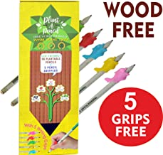 WOOD FREE PLANTABLE PENCIL HB#2 EXTRA DARK 36 Pencils + 5 Silicon Gripers FREE l 100% Recycled Newspapers l 100% Eco Friendly l 5 Assorted Seeds- TOMATO | FENUGREEK | CORIANDER | CHILI | MUSTRAD