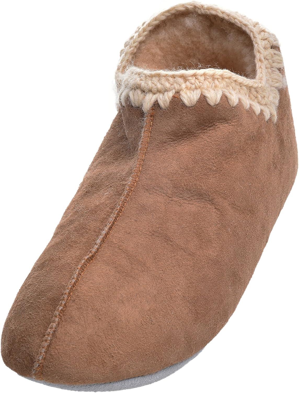 Shepherd Ladies Genuine Sheepskin Slipper Boots with Crochet Stitch