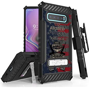 Beyond Cell Trishield Series Compatible with S10+ Case/Military Grade Rugged Cover + [Metal Kickstand]+[Belt Clip Holster] Compatible with Samsung Galaxy S10 Plus (2019)- Forces