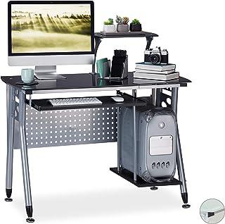 relaxdays Table Verre, Coulissant pour Clavier et Place pour Ordinateur HlP: 98x105 x55 cm Couleurs, Panneau de Particule...