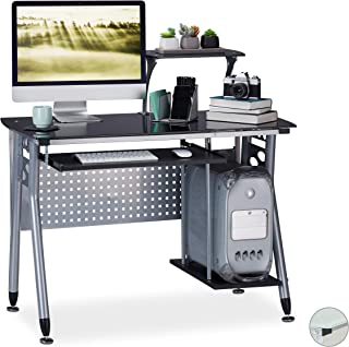 relaxdays Table Verre, Coulissant pour Clavier et Place pour Ordinateur HlP: 98x105 x55 cm Couleurs, Panneau de Particules...