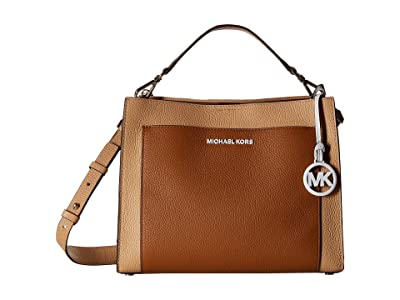MICHAEL Michael Kors Gemma Medium Pocket Top-Handle Satchel (Acorn/Butternut) Satchel Handbags