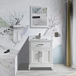 Vanity Art 24 Inch Single Sink Bathroom Vanity Set | Super White Phoenix Stone Soft Closing Doors Undermount Rectangle Sink with Free Mirror - VA1024-W