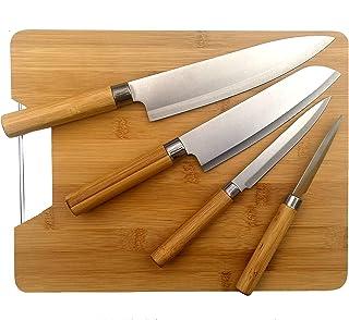 PHOTON Couteau Cuisine et Planche a découper en Bambou - Set de 4 Couteaux de Cuisine INOX, Manche Bambou Style Traditionn...
