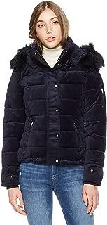 Womens Warm Winter Sapphire Velvet Hooded Jacket with Black Faux Fur