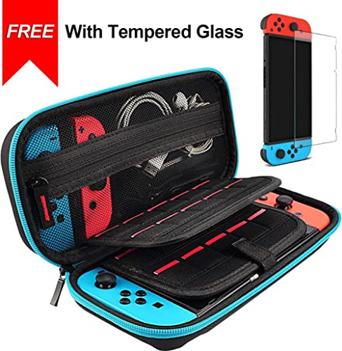 Hestia Goods case for Nintendo Switch Case and Tempered Glass Screen Protector Deluxe Hard Shell Travel Carrying Case...