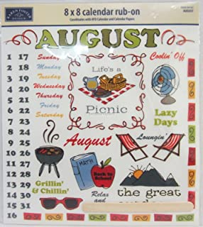 Karen Foster Design - Calendar Creations - Rub Ons - Doodle - August (04133)
