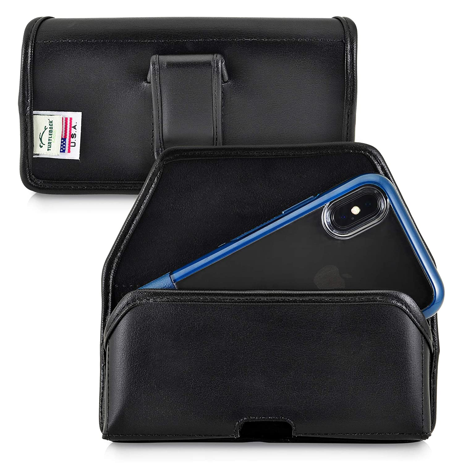 Turtleback Holster Designed for iPhone Xs (2018) Fits with OTTERBOX Statement, Black Leather Belt Case Pouch with Executive Belt Clip, Horizontal Made in USA