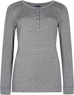 495d24975c019b Marks and Spencer Collection Grey Long Sleeve Henley Neck Textured Top