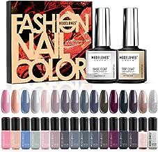 Gel Nail Polish,Nude Grey Pink Blue Fall Colors Gel Polish, 2 PCS 10ML Gel Top Coat and Base Coat Included,16 PCS 6 ML Col...