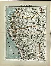 Peru Ecuador Brazil Bolivia South America antique 1882 detailed color map