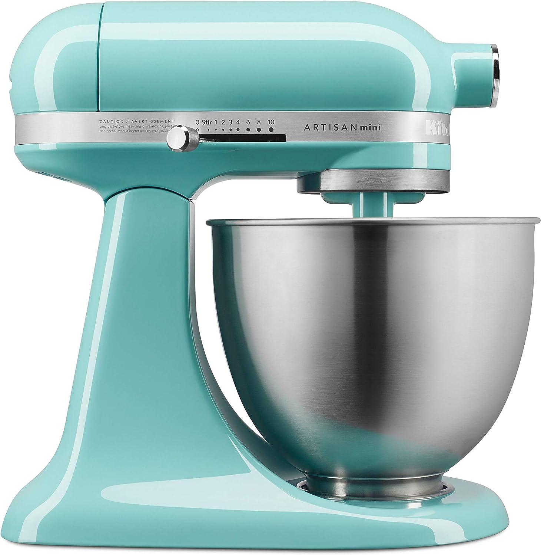 Amazon Com Kitchenaid Ksm3311xaq Artisan Mini Series Tilt Head Stand Mixer 3 5 Quart Aqua Sky Blue Kitchen Dining