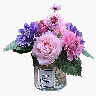 Fresh home ,Artificial Flowers with Vase, Faux Rose Dahlia Chrysanthemum in Transparent Vase, Faux Flower Arrangements for Home Decor, Purple, Small