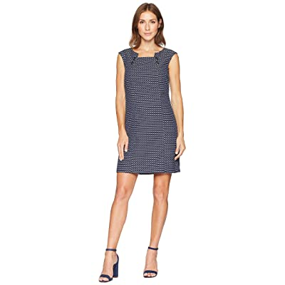 Tahari by ASL Novelty Cap Sleeve Dress with Button Detail at Neckline (Navy/White) Women