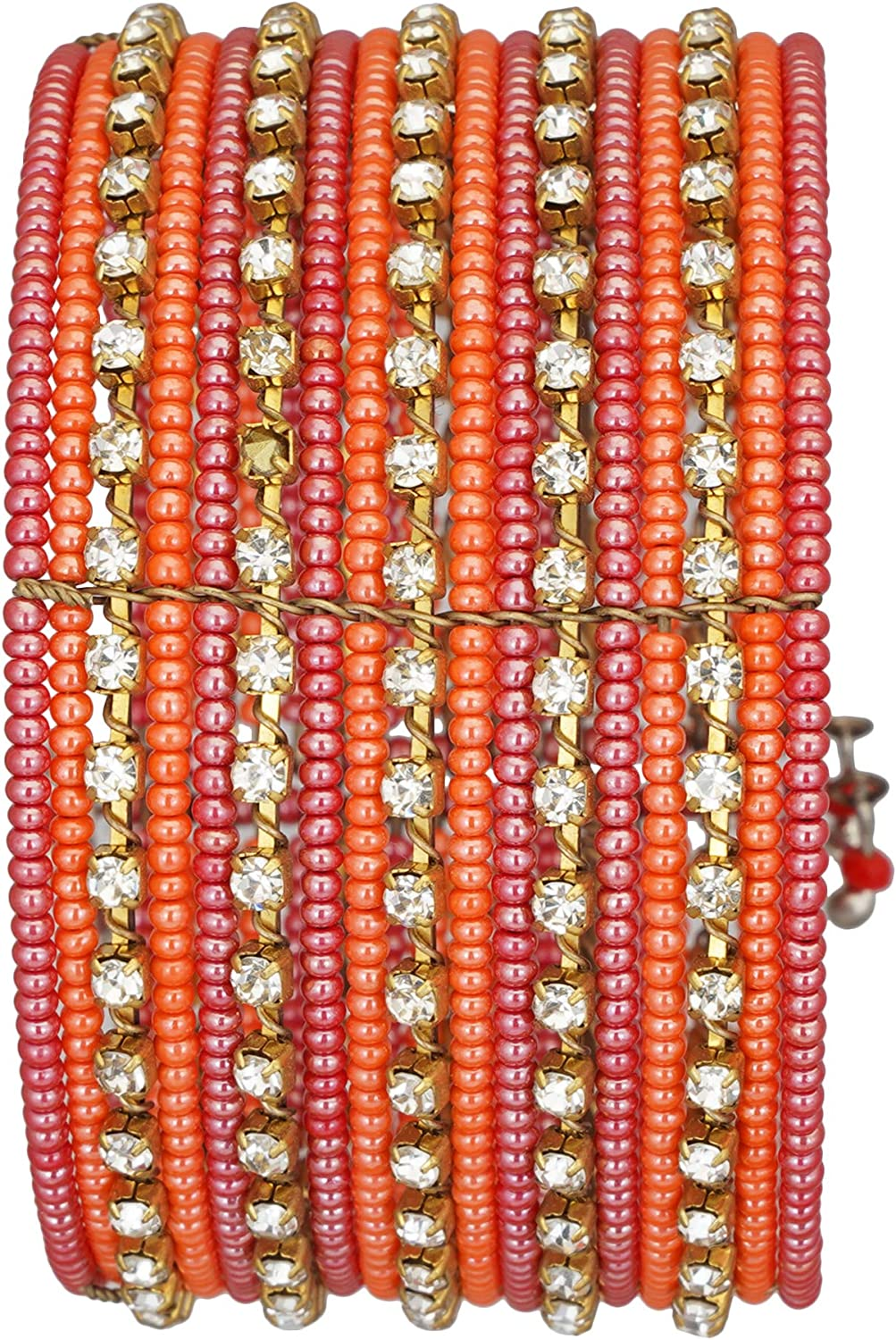 El Allure Glass Seed Bead Red, Orange and Gold Spiral Adjustable Partywear Trendy Handicraft Indian Style Bangle with Big Zircon Stone Fine Bangle for Women