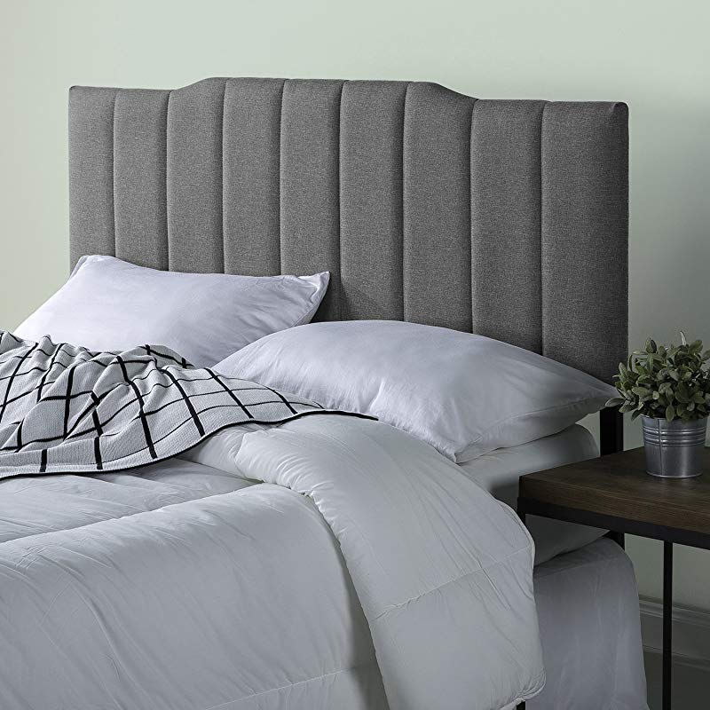Zinus Satish Upholstered Channel Stitched Headboard In Grey Full