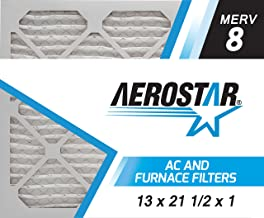 Aerostar 13x21 1/2x1 MERV 8, Pleated Air Filter, 13 x 21 1/2 x 1, Box of 6, Made in The USA