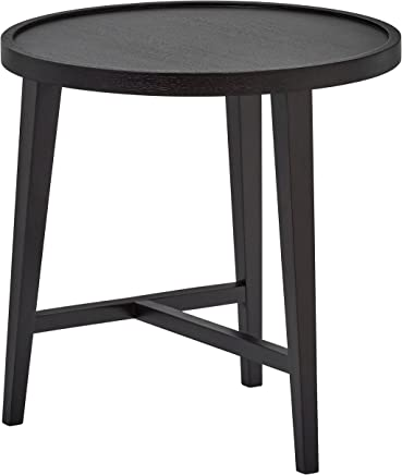 Rivet Modern Round Wood Nesting Table,  20.5 W,  Dark Oak