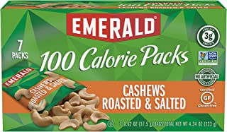 Emerald Nuts Cashews Roasted & Salted, 100 Calorie Packs, 7 Count (Pack of 12)