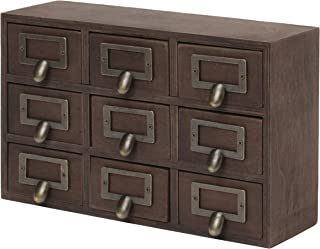Kate and Laurel Desktop Solid Wood Apothecary Drawer Set, Includes 9 Drawers with Metal Label Holders, Rustic Brown Finish