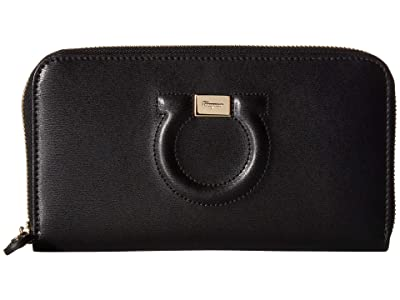 Salvatore Ferragamo Leather Zip Around Wallet (Nero) Wallet Handbags