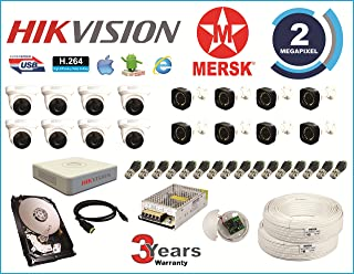 MERSK Hikvision 16 Ch Turbo HD Dvr and Full HD 2MP CCTV Camera Kit with All Required Accessories (2 TB Hard Disk)