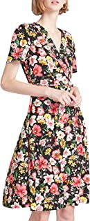 Our Heritage - Women's V-Neck Floral Print A-line Midi Wrap Dress with Tie-Up