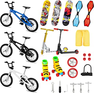 Suilung 25 Pieces Mini Finger Toys Set Finger Roller Skates Finger Pant Finger Skateboards Finger Bikes Scooter Tiny Swing...