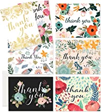 Thank You Cards - 37 Beautiful Thank You Card - Blank Cards - White Envelopes Included - Bridal, Baby Showers and Business (37 Pack - Bonus 24K Gold Card)