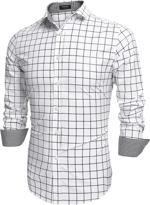 COOFANDY Max 86% Super intense SALE OFF Men's Fashion Long Sleeve Plaid Shirts Down Button Casu