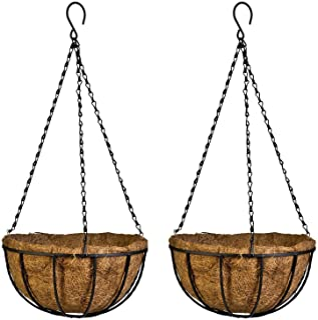 Kingbuy 14 Inch Iron Hanging Planter Basket with Coconut Liner Wire Plant Holder Flower Baskets Pot Hanger Garden Decorati...