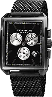Akribos XXIV Men's Casual Rectangular Quartz Watch - Matte Dial - Featuring a Stainless Steel Bracelet - [ AKN918 ]