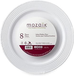 """Mozaik Premium Plastic 7.5"""" White Ring Accent Plates, 8 Count"""