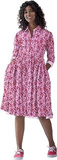 RADANYA Women's Long Sleeve Floral Pockets Casual Swing Pleated T-Shirt Dress