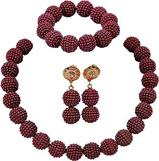 aczuv Nigerian Wedding African Beads Jewelry Set Women...