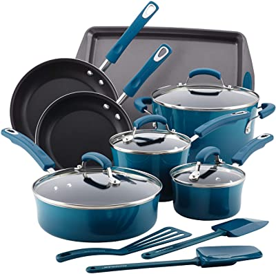 Rachael Ray Brights Nonstick Cookware Pots and Pans Set, 14 Piece, Marine Blue
