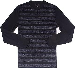 Mens Shirt Small Stretch Printed Stripe Henley Black S