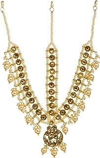 Bindhani Indian Bollywood Style Wedding Gold Plated Maang Tikka Bridal Bahubali Matha Patti Traditional Mang Tika Jeweller...