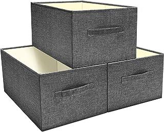 SHAN ZU Lot de 3 Boites de Rangement en Tissu, Paniers de Rangement Pliable Cube, Caisse de Rangement sans Couvercle, Orga...