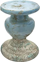 Creative Co-Op Large Distressed Blue Terracotta Pillar Candle Holder