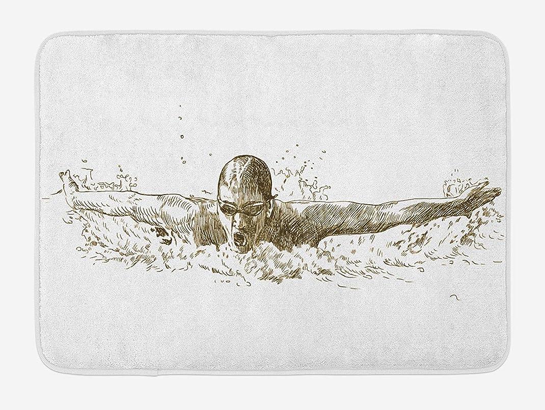 文句を言う割り込みアンドリューハリディAmxxy バタフライスタイルの競技スポーツスケッチアートイラスト現代浴室の家の装飾滑り止めバスマットドアマットフランネル素材屋外ドア装飾ルーム