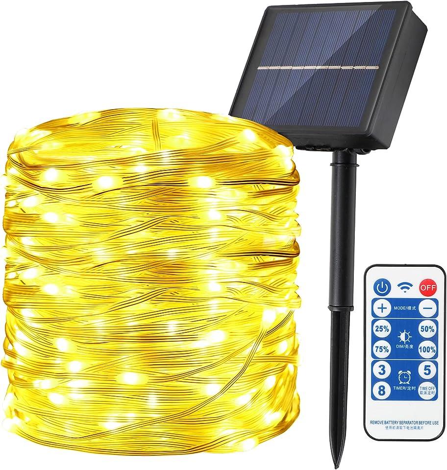 Solar Lichterkette Außen, ANKOUJA 300 LED 8 Modi 1200 mAh Solarlichterkette aussen Fernbedienung Kupferdraht Timer für Deko Garten Balkon Terrasse Hof Party