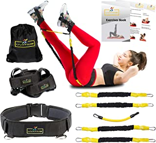 UVATIME Booty Adjustable Belt with Resistance Bands, Exercise Bands for Legs and Butt, Adjustable Ankle Bands, Vertical Jump Trainer, 2 Adaptable Levels of Resistance, Backpack