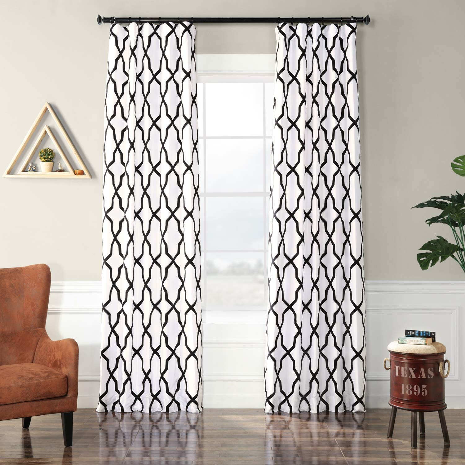 PTFFLK-C35C-108 Pinnacle Flocked Faux Silk Curtain, White & Black, 50 x 108
