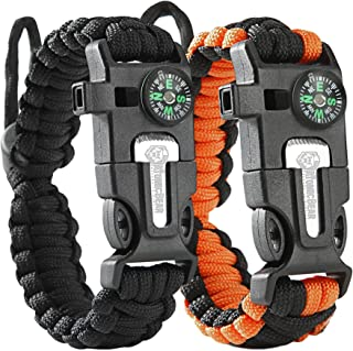 Bear Paracord Bracelet (2 Pack) – Adjustable Size – Fire Starter – Loud Whistle – Emergency Knife – Perfect for Hiking, Ca...